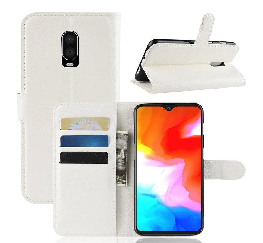OnePlus 6T Hoesje Wallet Flip Case Wit