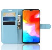 OPPRO OnePlus 6T Hoesje Wallet Flip Case Blauw
