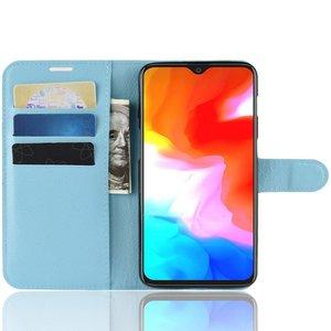 OPPRO OnePlus 6T Case Wallet Flip Case Blue