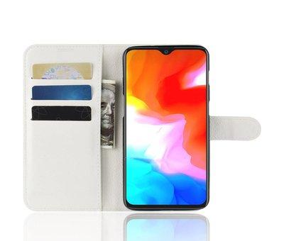 OPPRO OnePlus 6T Hoesje Wallet Flip Case Wit