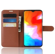 OPPRO OnePlus 6T Wallet Flip Case Braun
