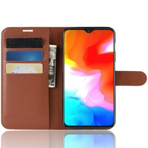 OPPRO OnePlus 6T Case Wallet Flip Case Brown