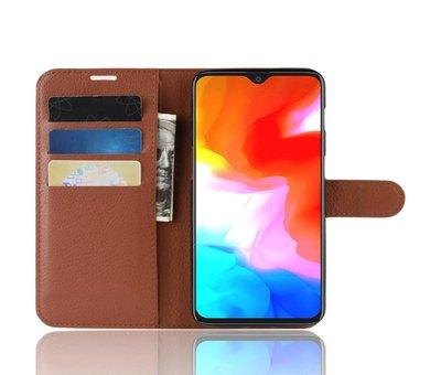 OPPRO OnePlus 6T Hoesje Wallet Flip Case Bruin