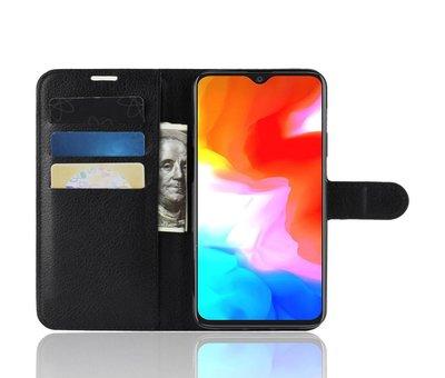 OPPRO OnePlus 6T Hoesje Wallet Flip Case Zwart