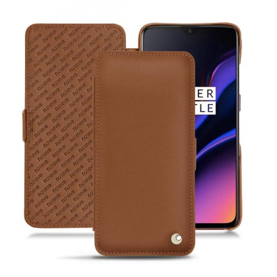 OnePlus 6T Leather Flip Case Brown