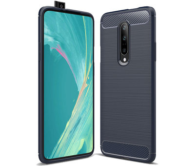 OPPRO OnePlus 7 Pro Hoesje Brushed Carbon Blauw