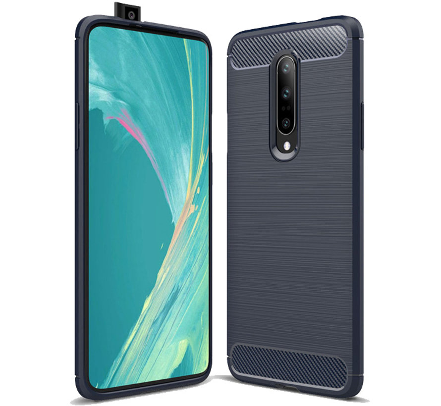 OnePlus 7 Pro Hoesje Brushed Carbon Blauw