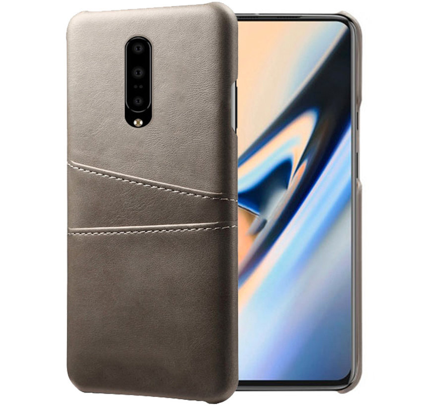 OnePlus 7 Pro Case Slim Leather Card Holder Gray