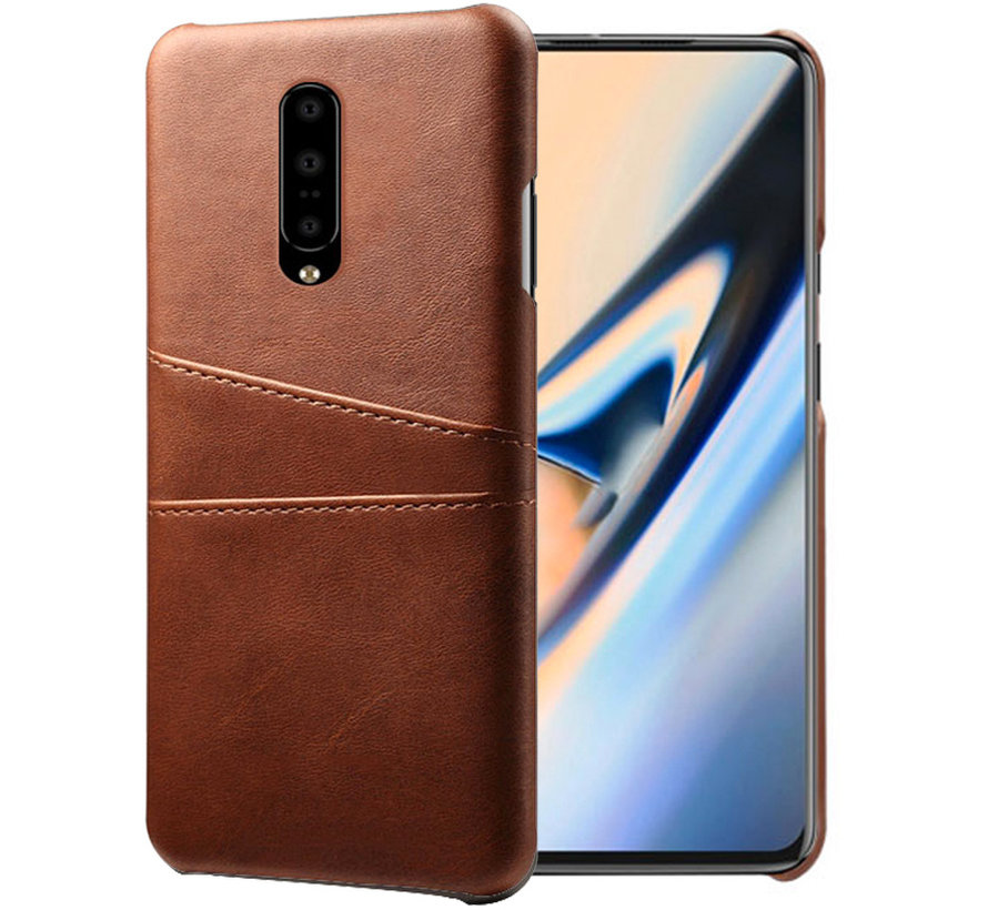 OnePlus 7 Pro Case Slim Leather Card Holder Brown
