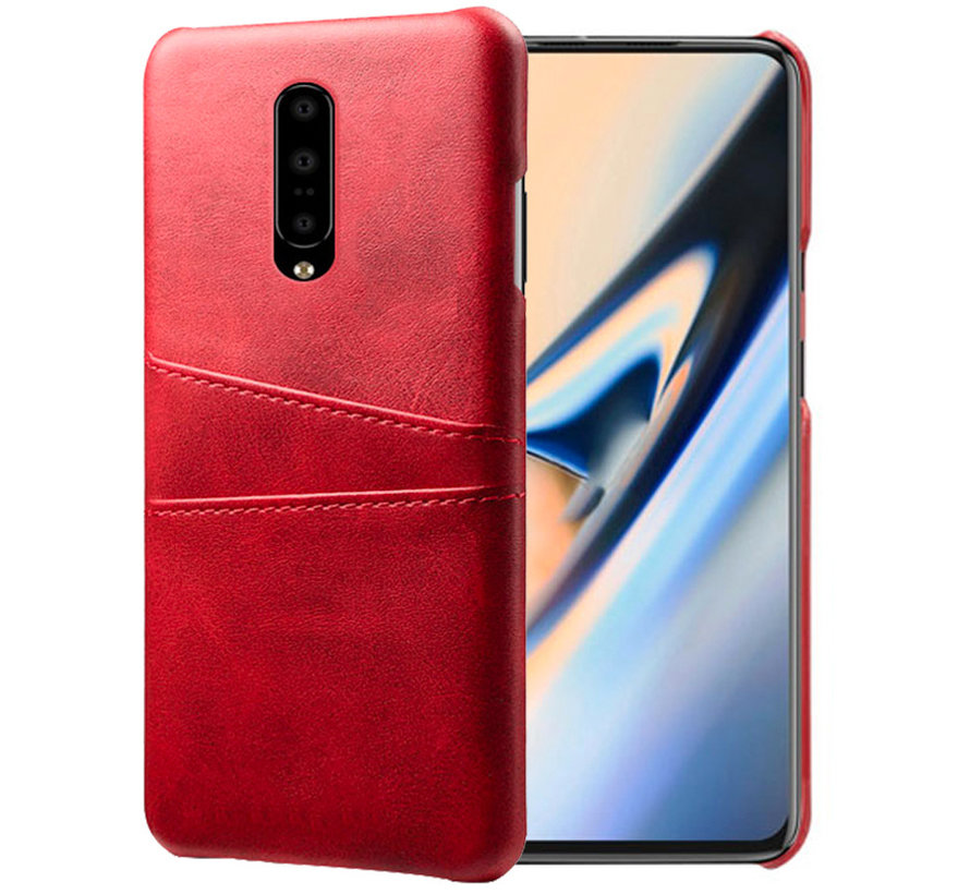 OnePlus 7 Pro Case Slim Leather Card Holder Red