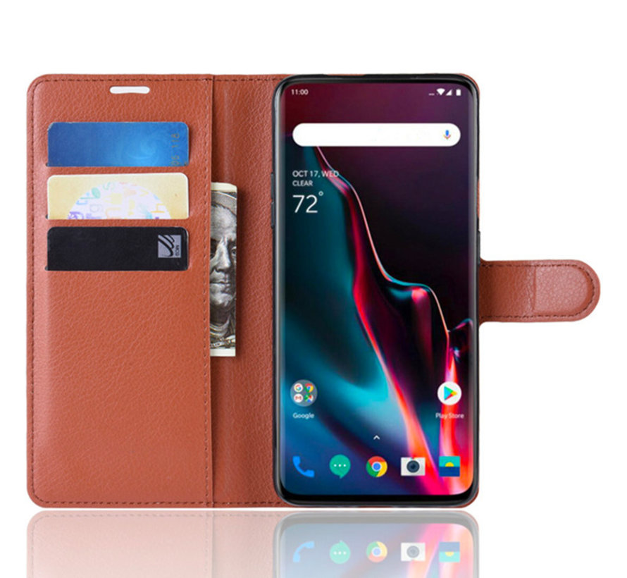 OnePlus 7 Pro Wallet Flip Case Brown
