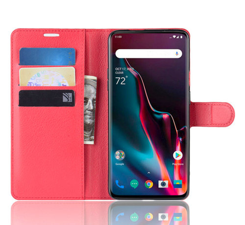 OPPRO OnePlus 7 Pro Wallet Flip Case Red