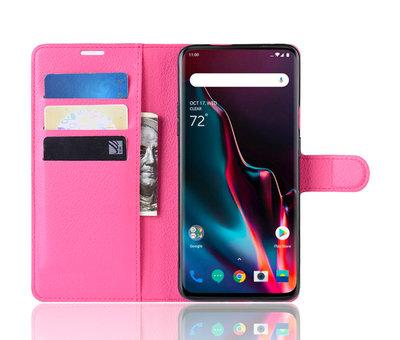 OPPRO OnePlus 7 Pro Hoesje Wallet Flip Case Roze