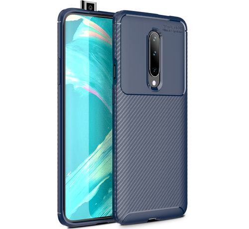 OPPRO OnePlus 7 Pro Hoesje Carbon Structuur Blauw