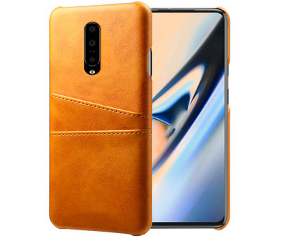 OPPRO OnePlus 7 Pro Case Slim Leather Card Holder Cognac Brown