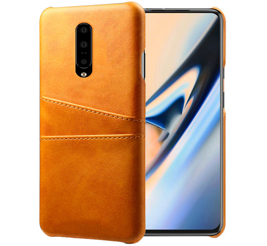 OnePlus 7 Pro Case Slim Leather Card Holder Cognac Brown