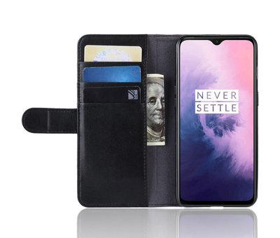 OPPRO OnePlus 7 Wallet Hoesje Echt Leder Zwart