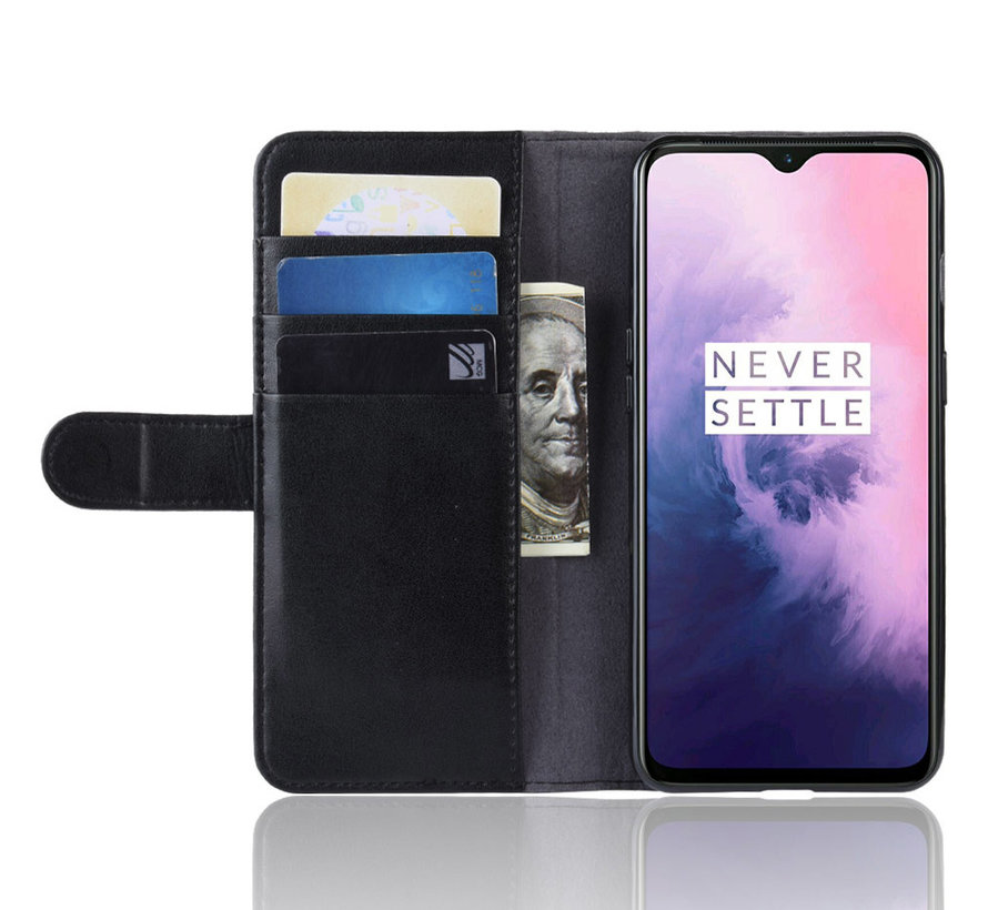 OnePlus 7 Wallet Case Echtes Leder Schwarz