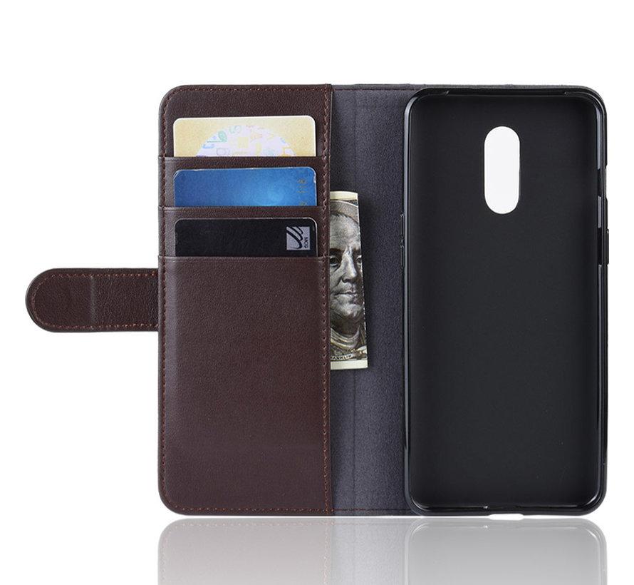 OnePlus 7 Wallet Case Echtes Leder Braun