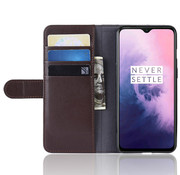 OPPRO OnePlus 7 Wallet Case Genuine Leather Brown