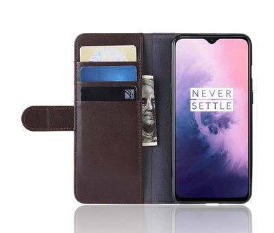 OPPRO OnePlus 7 Wallet Hoesje Echt Leder Bruin