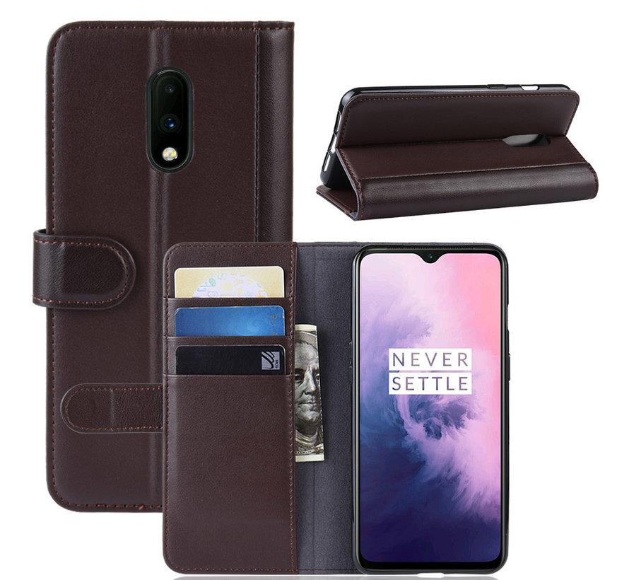 OnePlus 7 Wallet Hoesje Echt Leder Bruin