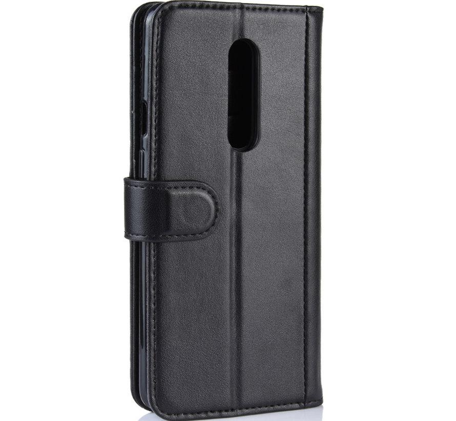 OnePlus 7 Pro Wallet Hoesje Echt Leder Zwart