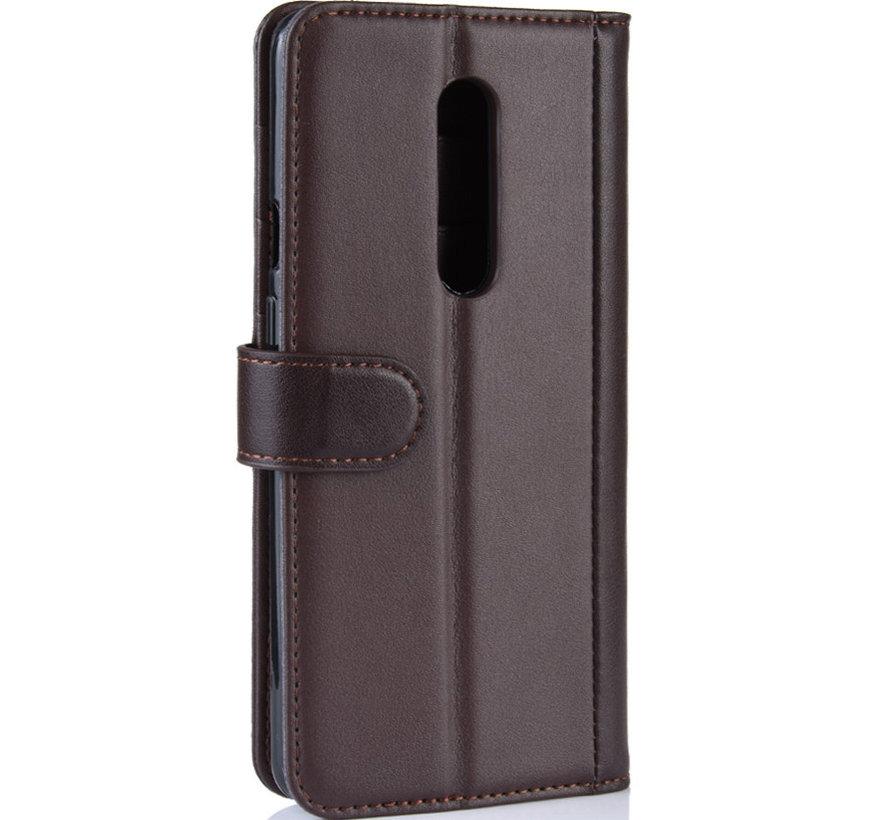 OnePlus 7 Pro Wallet Hoesje Echt Leder Bruin