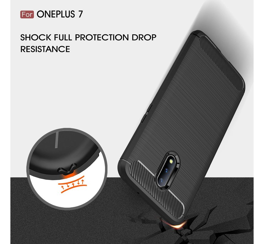 OnePlus 7 Hoesje Brushed Carbon Rood