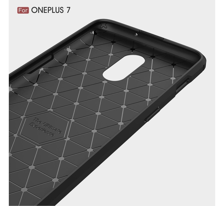 OnePlus 7 Hoesje Brushed Carbon Blauw