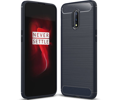 OPPRO OnePlus 7 Hoesje Brushed Carbon Blauw