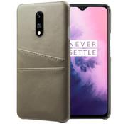 OPPRO OnePlus 7 Case Slim Leder Kartenhalter Grau