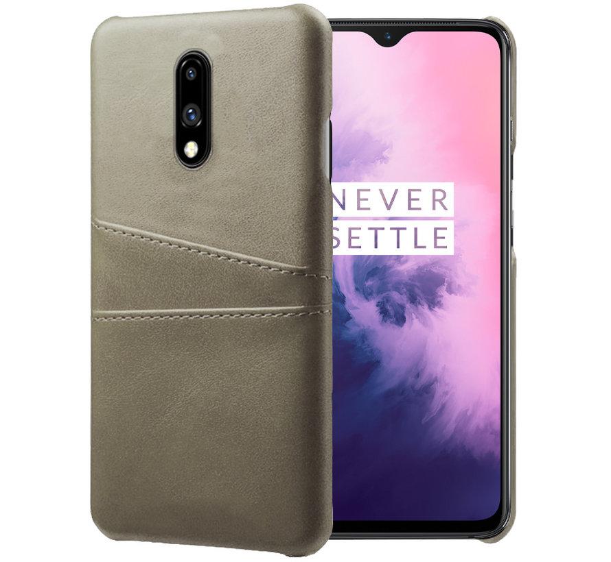 OnePlus 7 Case Slim Leder Kartenhalter Grau