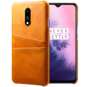 OPPRO OnePlus 7 Case Slim Leather Card Holder Cognac Brown