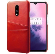 OPPRO OnePlus 7 Case Slim Leather Card Holder Red