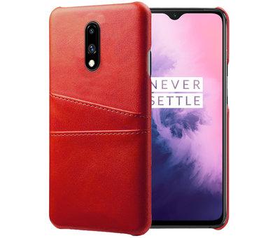 OPPRO OnePlus 7 Case Slim Leder Kartenhalter Rot