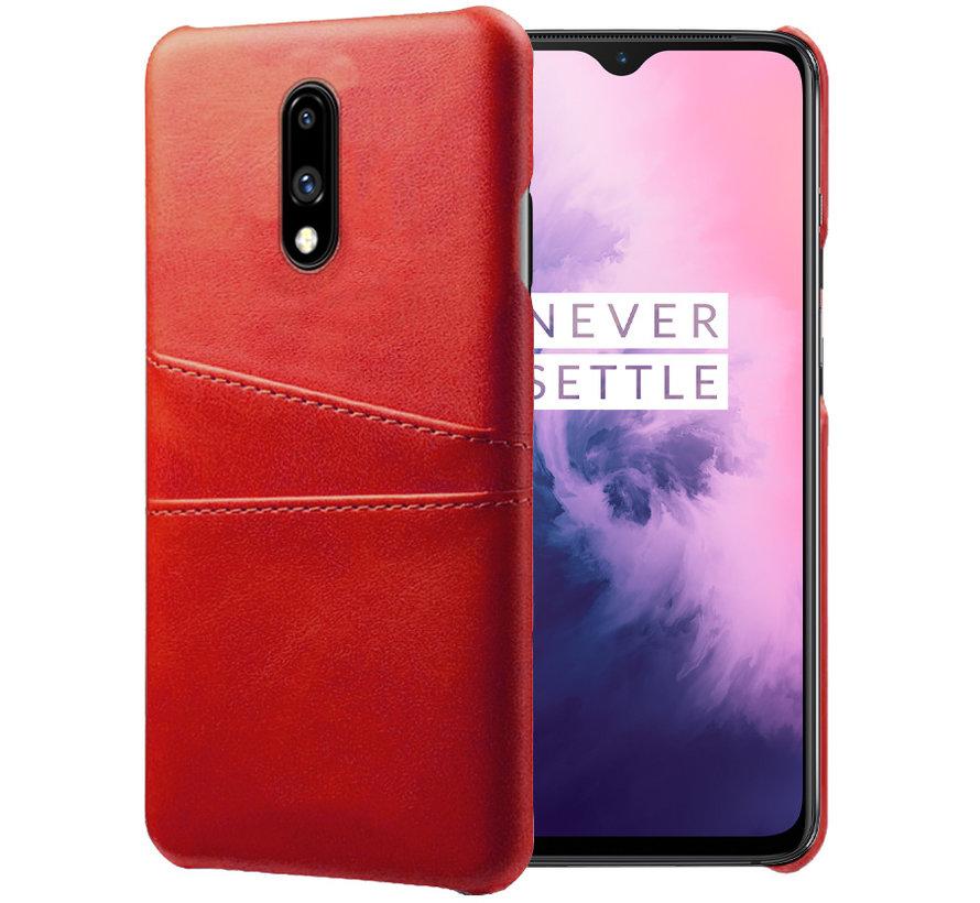 OnePlus 7 Case Slim Leder Kartenhalter Rot