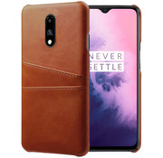 OPPRO OnePlus 7 Case Slim Leather Card Holder Brown