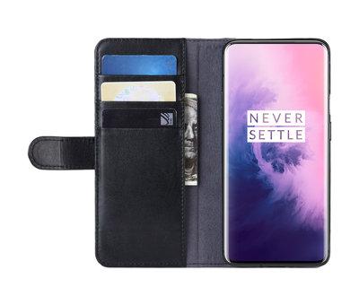 OPPRO OnePlus 7 Pro Wallet Hoesje Echt Leder Zwart