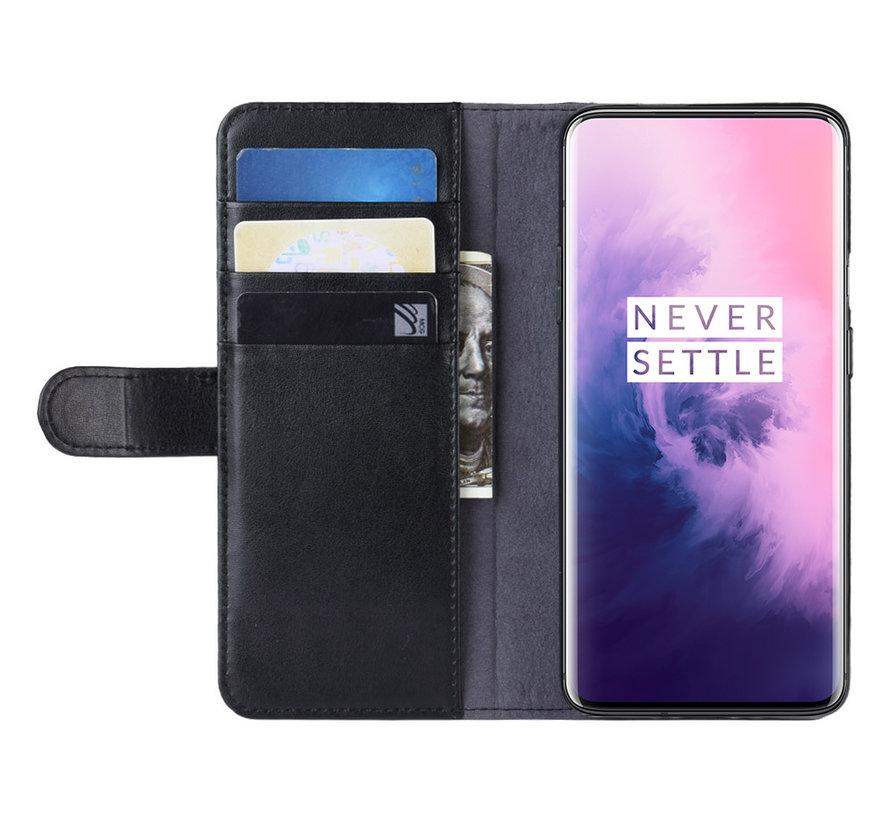 OnePlus 7 Pro Geldbörsenetui Echtes Leder Schwarz