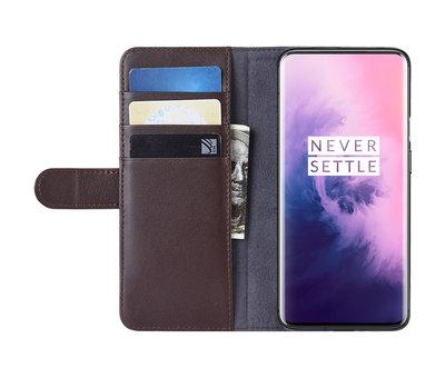OPPRO OnePlus 7 Pro Wallet Hoesje Echt Leder Bruin