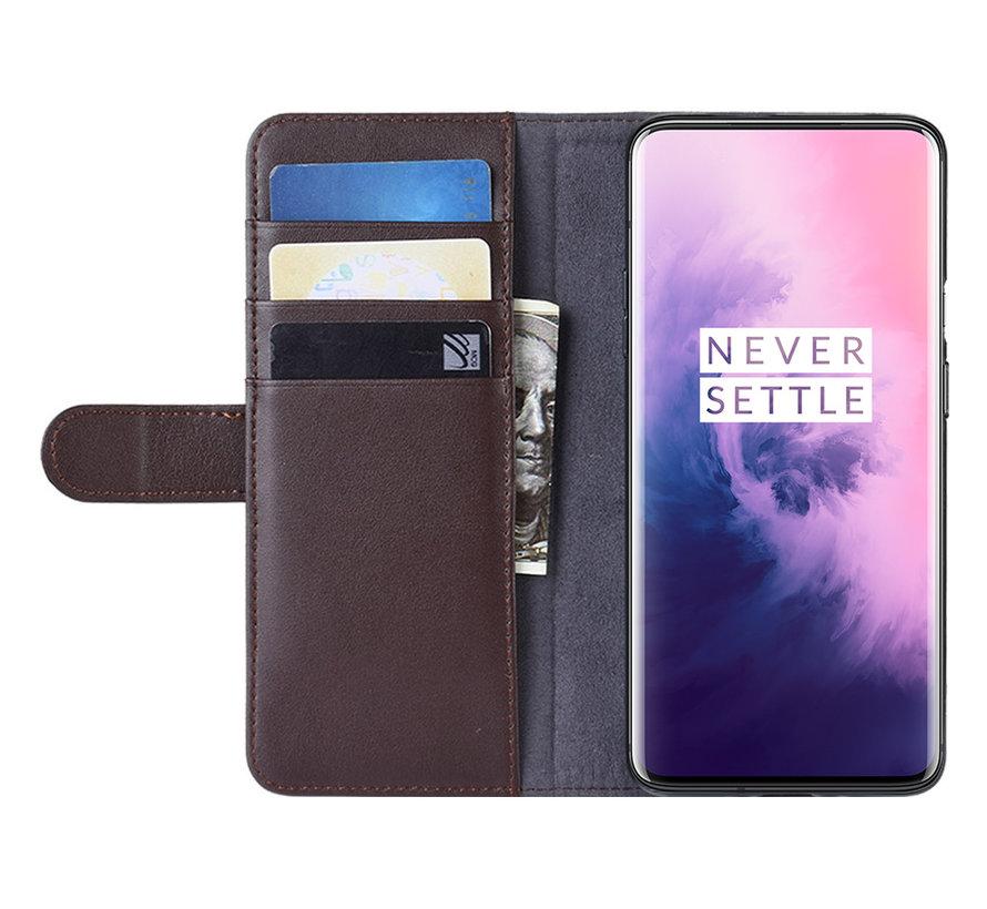 OnePlus 7 Pro Geldbörsenetui Echtes Leder Braun