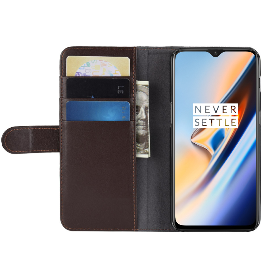 on sale e371b e8547 OPPRO OnePlus 6T Wallet Case Genuine Leather Brown