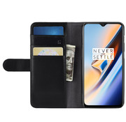 OPPRO OnePlus 6T Wallet Case Echtes Leder Schwarz