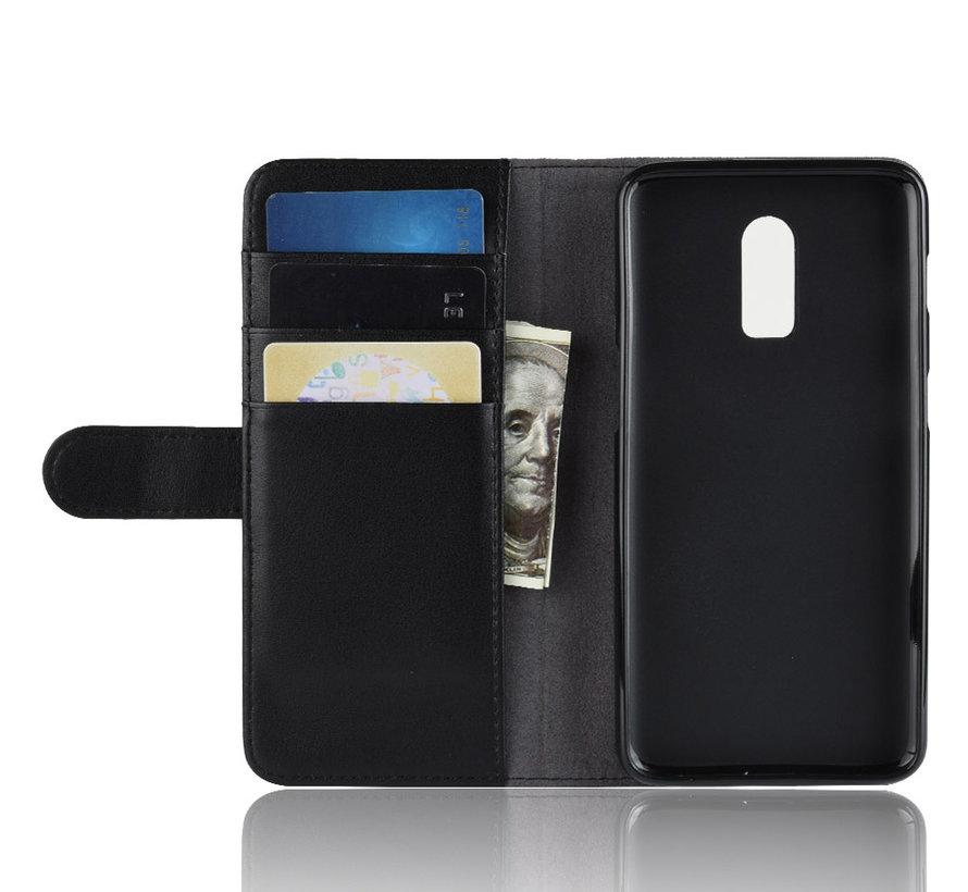 OnePlus 6T Wallet Case Echtes Leder Schwarz