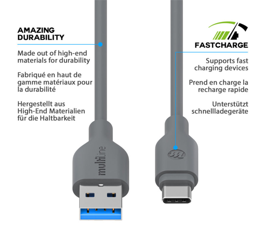 USB 3.1 Type C Cable 2M Gray