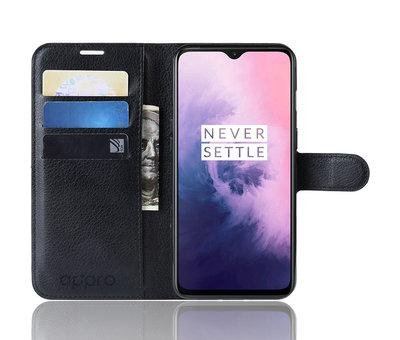 OPPRO OnePlus 7 Hoesje Wallet Flip Case Zwart