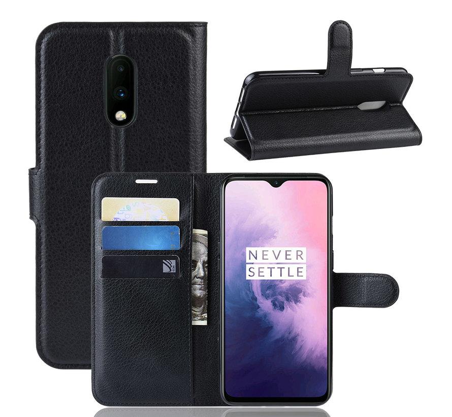 OnePlus 7 Wallet Flip Case Schwarz