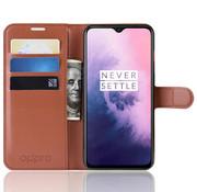 OPPRO OnePlus 7 Hoesje Wallet Flip Case Bruin