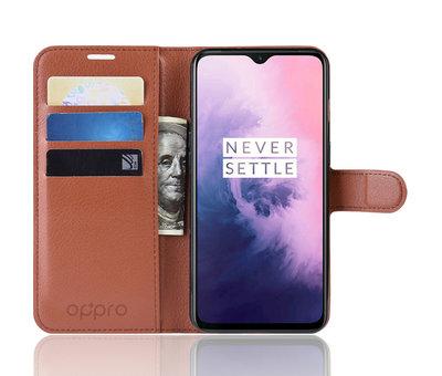 OPPRO OnePlus 7 Wallet Flip Case Braun